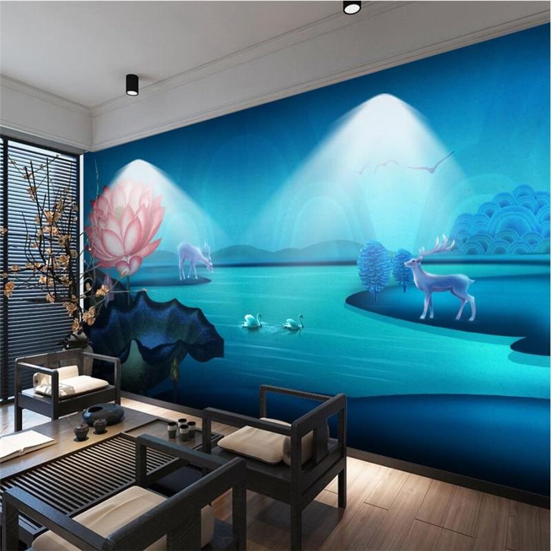 beibehang Custom Wallpaper Dream Blue New Chinese Lotus Lotus Leaf Elk River Atmosphere Sofa Background Wall