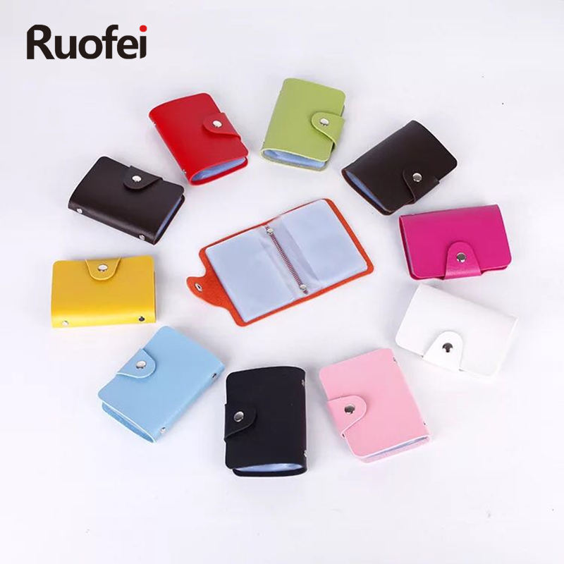 RUO FEI 12 Bit New Men's Women Leather Credit Card Holder / Case Card Holder Wallet Business Card Package PU Leather Bag