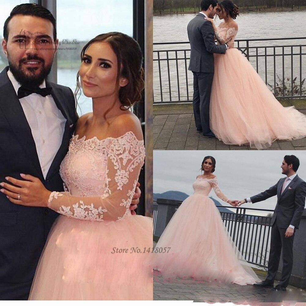 Blush pink wedding dress long sleeve boat neck lace for Long sleeve blush wedding dress