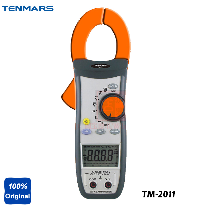 AC Clamp Meter Test Ranges: ACV, ACA, Resistance, Frequency, Diode, Continuity Tester TM-2011 mastech ms2001f holdheld digital clamp meter 31 2 bit ac digital clamp continuity diode test with backlight