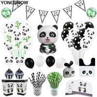 Tier Panda Thema Party Dekorationen Liefert Kinder Geburtstag Party-Baby-Dusche Einweg Geschirr Set Ballon Banner Strohhalme