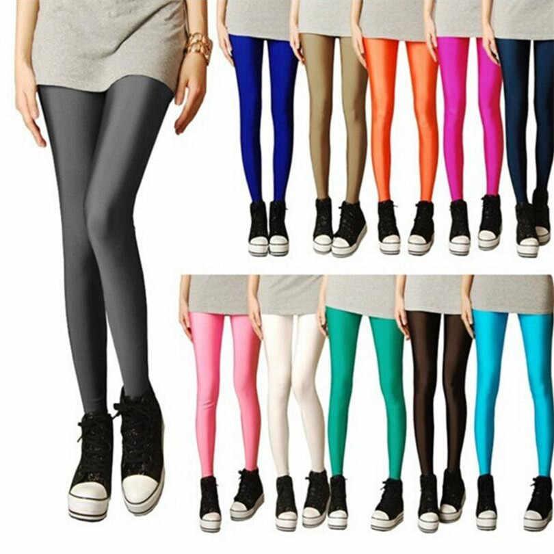 2019 Baru Musim Semi Solid Permen Neon Legging untuk Wanita Tinggi Membentang Wanita Celana Legging Gadis Pakaian Leggins Ukuran Steker