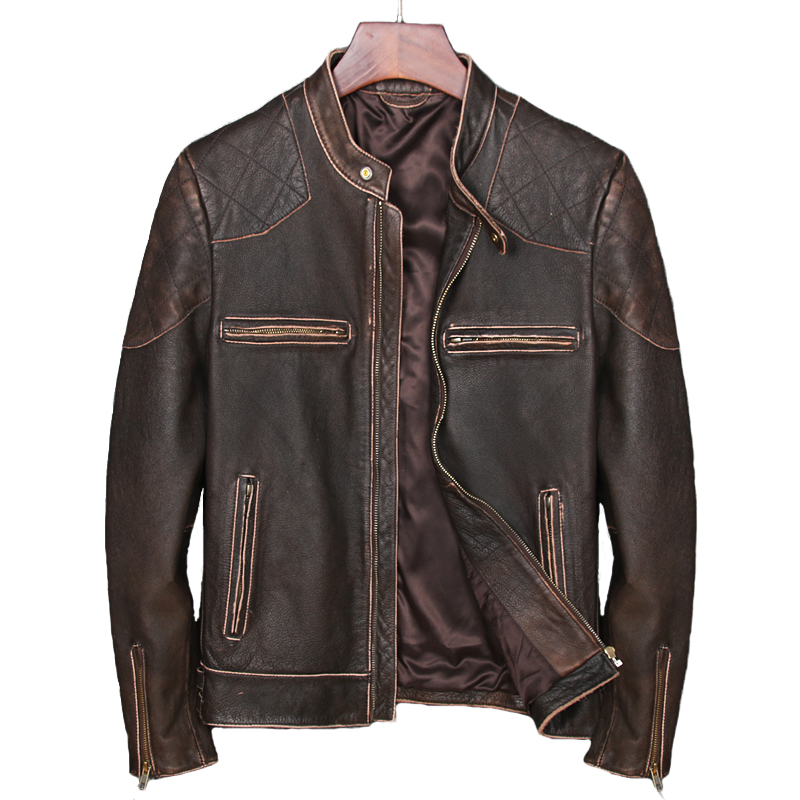 2018 Vintage Brown Men Bikers Leather Jacket Plus Size XXXL Genuine Cowhide Short Russian Motorcycle Leather Coat FREE SHIPPING