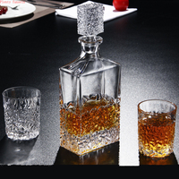 Creative Crystal Glass Whiskey Wine Decanter with 4 6 Cups Flagon Water Drinkware Lead free Barware Bottle vodka bartender set