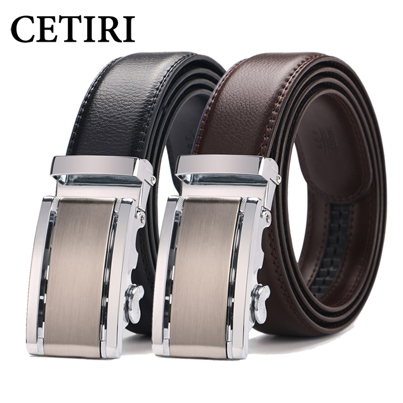 CETIRI Mens Belts Designer Belts Men High Quality Cow Genuine Leather Automatic Buckles Ratchet Belts For Men Brown 110- 140 cm