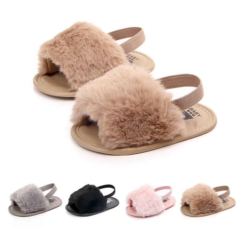 Baby Infant Girls Soft Sole Shoes Plush Slide Sandal Summer Toddler Sandal Princess Non-slip Crib Shoes
