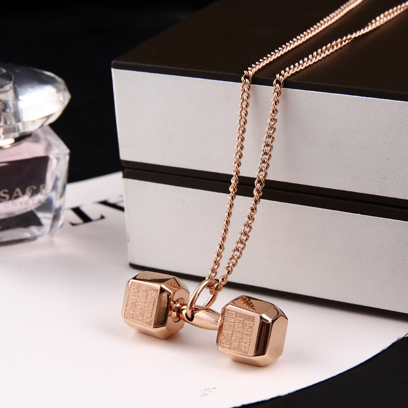 Owner fashion fitness dumbbell pendant sports titanium rose gold lovers design necklace accessories - Yiwu Huige Ornament Co., Ltd. store