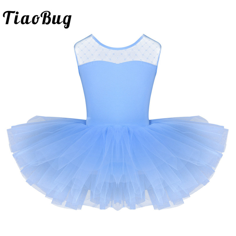 TiaoBug New Children Girls Ballet Tutu Dress Short Sleeve Stretchy Mesh Splice Dance Leotard Dress Kids Stage Swan Dance Costume