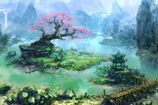 Asian japan architecture bonsai artwork fantasy art Landscape poster silk Fabric Printing Wall Art Decor