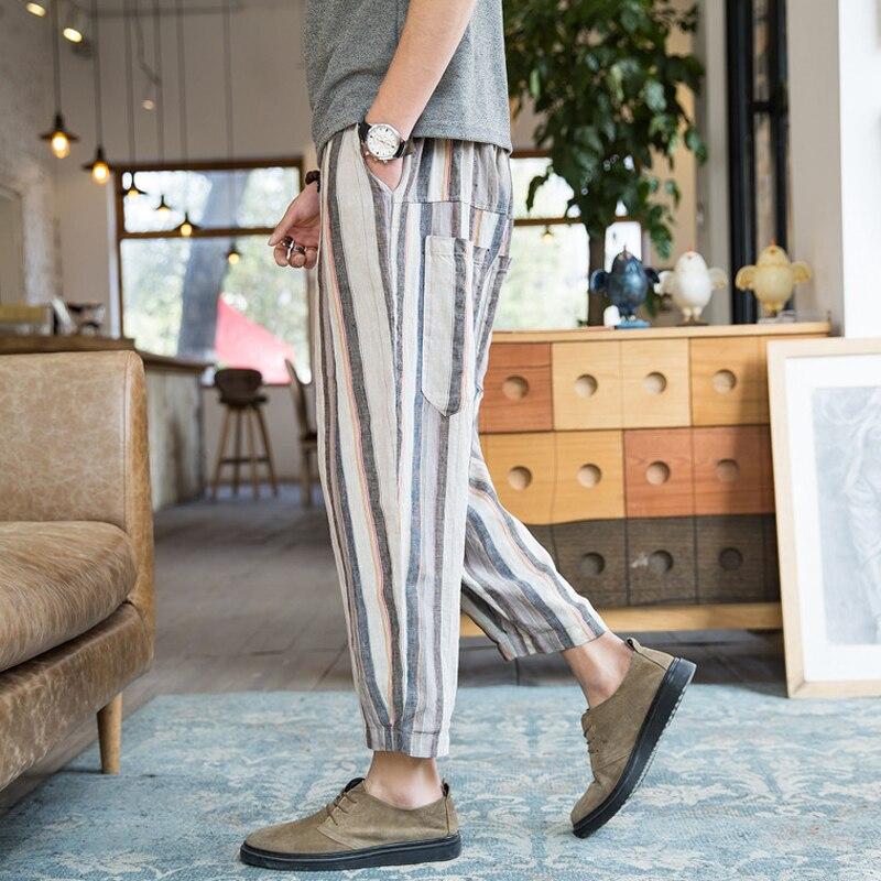 3b8a7b2313b INCERUN 2018 Men s Pants Casual Korean Style Stripe Elastic Waist Button  Harem Pants Baggy Men Fashion Summer Trousers Plus Size-in Harem Pants from  Men s ...
