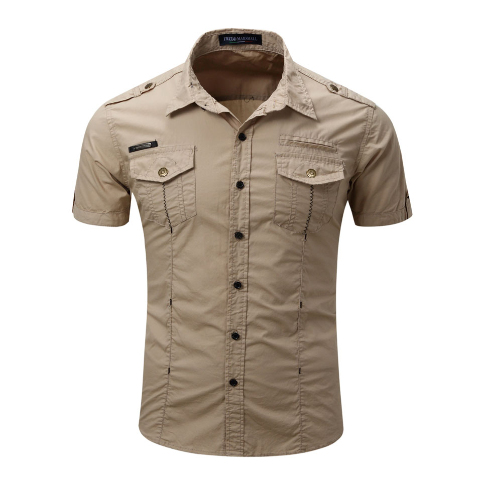 2019 High Quality Mens Cargo Shirt Men Casual Shirt Solid Short Sleeve Shirts Work Shirt With Wash Standard US Size 100% Cotton