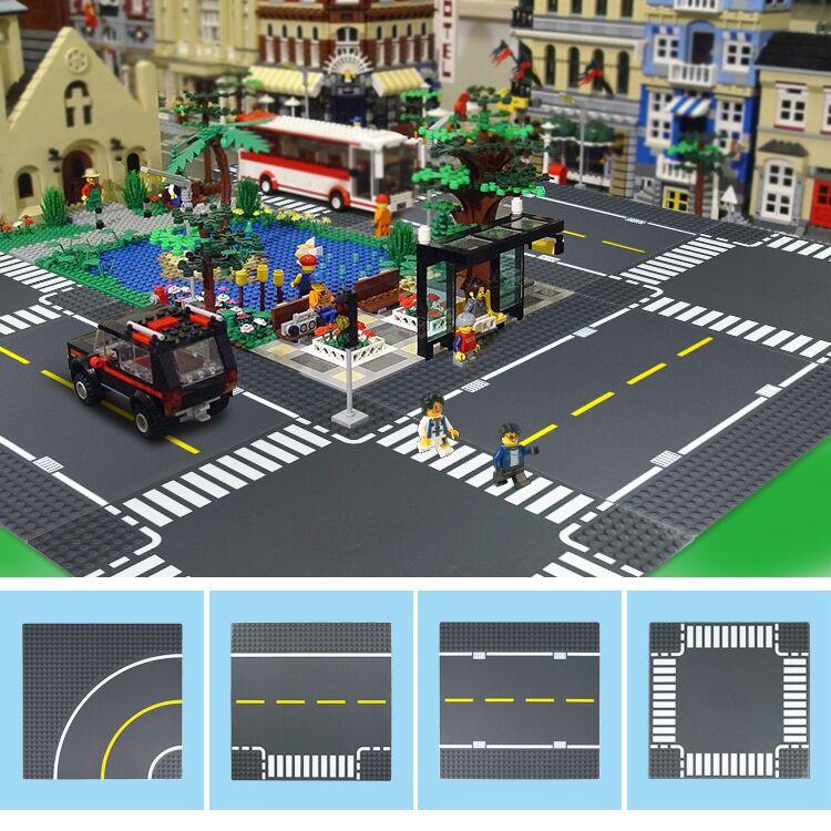 DIY City Road Street Base Plate Straight Crossroad Curve T Junction Legoinglys  Building Blocks Sets Baseplate Parts Bricks Toys
