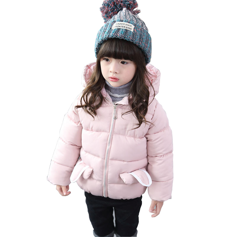 Girls Winter Jacket Parka 2017 New Cartoon Hooded Infant Down Jacket Kids Girls Outerwear Jacket Baby Girls Clothing DQ647