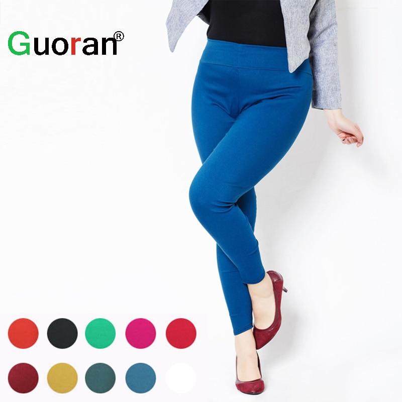 Taille haute Femmes Crayon Pantalon 2017 De Couleur de Sucrerie Leggings PLus taille 5XL 6XL Dames Occasionnels pantalon Blanc Noir Rouge Femme Pantalon