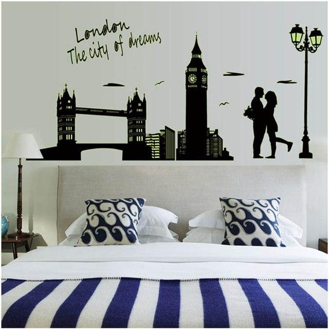 Glow In The Dark Wall Murals aliexpress : buy glow in the dark london bridge romantic