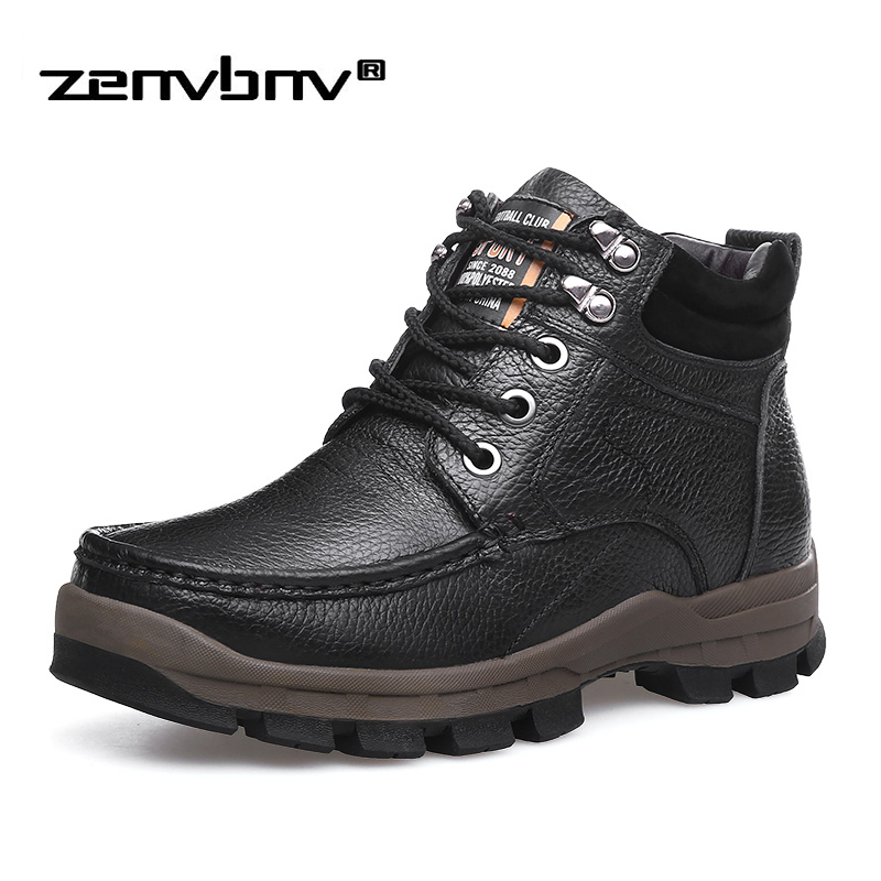 Winter Men Shoes Martin Ankle Boots With Fur Genuine Leather Warm Snow Boots Plus size 38-48 Casual Men Motorcycle Boots Botas cimim brand new fashion genuine leather boots men ankle boots casual warm winter snow warm fur boots men shoes plus size 39 50