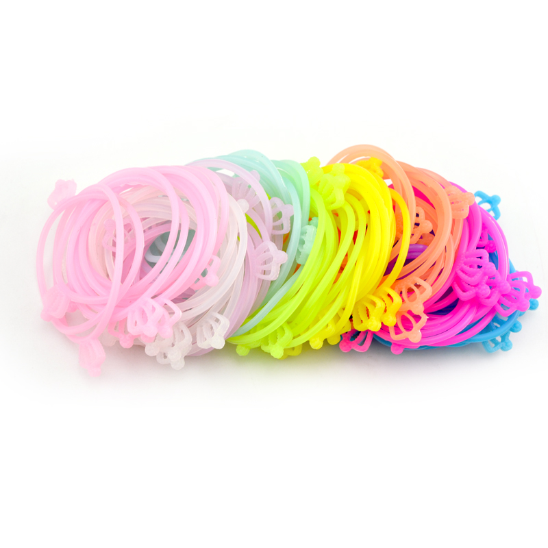 100 pcs Lot Sweet Candy Silicone Crown Hair Rope Elastic Hair Bands For font b Women