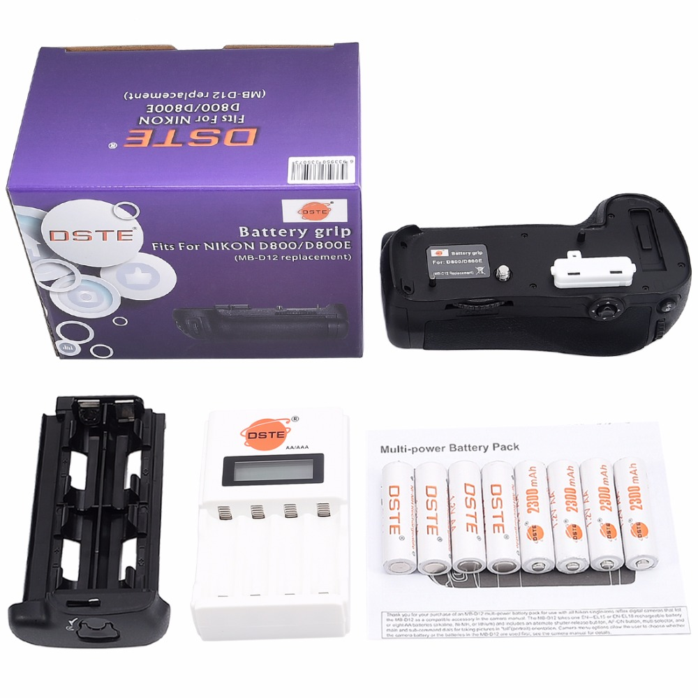 DSTE MB-D12 Battery Grip + Charger + 8x Rechargeable Batteries NI-MH AA Battery for Nikon D800E D800 DSLR Camera dste 3pcs sl 360 ni mh battery for spectralink pts360 9031 mdw9030p mdw9031 ptb400 ptb710 ptb810 ptb81650