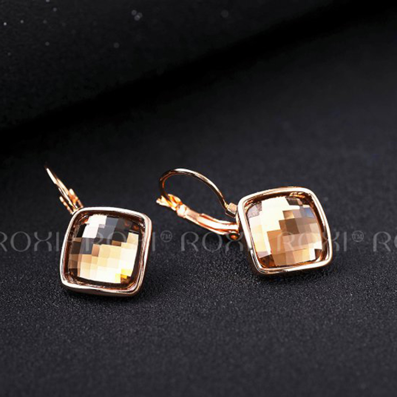 5d1361737 ROXI 2018 Women Earrings Champagne Rose Gold orecchini donn Large Crystal  Stud Earrings Fashion Jewelry aretes Dropship-in Stud Earrings from Jewelry  ...
