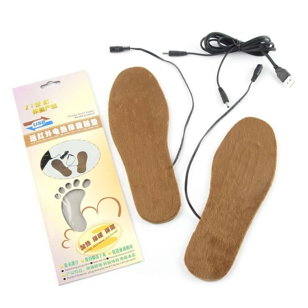 1 Pair Cuttable Winter Electric Heaters Boot Insoles USB Heated Foot Warmer  Soft Shoes Pads Cushions 9038e5023949