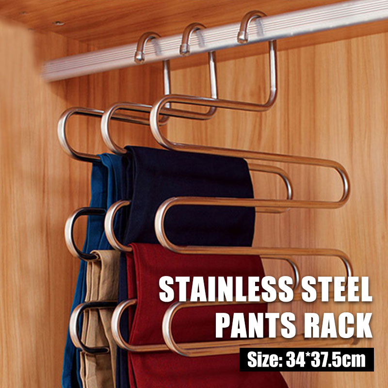S-Type Stainless Steel Pants Rack  Durable Multifunctional Clothes Hangers Device Coat Hanger Organizer Clothes Storage