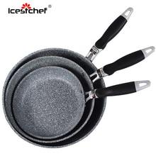 Icestالشيف النمط الياباني حجر الأرز عموم مقلاة غير عصا مع مقبض مكافحة السمط مقلاة أدوات مطبخ طباخ