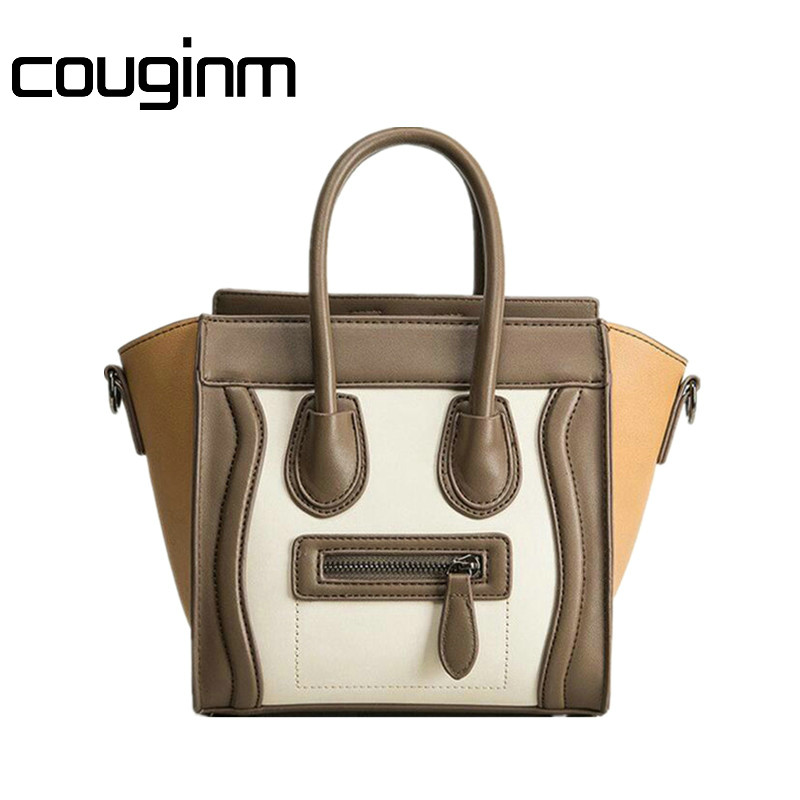COUGINM Fashion Bolsos Mujer Smile Face Tote Luxury Brand Pu Leather Women Handbag Shoulder Bag Famous Designer Crossbody Bags