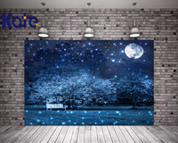 Bokeh Night Backdrop for Photography Portable Cotton Star Moon Light Night Photography studio backdrop Forest Tree Props 7x5ft