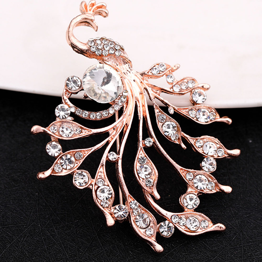 1 Pcs Crystal Flower Peacock Brooch Pin Fashion Beautiful Rhinestone Jewelry Female Wedding Pins Large Brooches For Ladies in Brooches from Jewelry Accessories