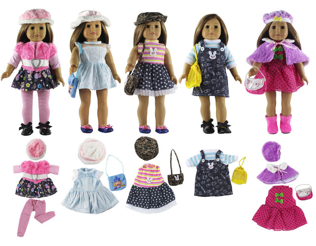 5 Set Fashion Style Clothing Doll Clothes+4 hats+4 bags+one pairs tights for 18 inch doll clothes american doll accessories