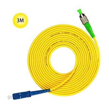 SC-UPC to FC-APC 9/125 Singlemode Fiber Patch Cable 3M Jumper Cable 9 Microns  APC/UPC Polish  Yellow Jacket  OFNR Fiber Cable