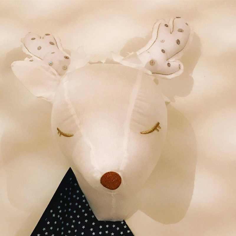 جميل عزيزي رئيس ثلاثية الأبعاد الحيوانات جدار معلق جبل غرفة الاطفال الديكور الأبيض صور الدعائم الشمال نمط الأطفال ديكور غرفة نوم