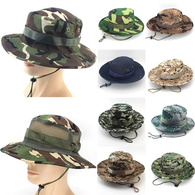 Boonie Hats Tactical Airsoft Sniper Camouflage Tree Bucket Hat Accessories  Casual Military Army American Military Men Cap 128388c7fd57