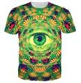 Психоделический глаз футболка trippy шаблон приводит к all-seeing глаз яркий дизайн майка женщин мужчины тис летний стиль топы