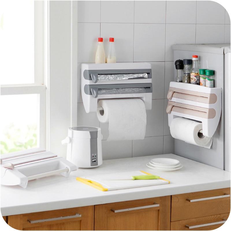 Kitchen Organizer Cling Film Sauce Bottle Storage Rack Tin Foil Paper Towel Holder Kitchen Shelf Plastic Wrap Cutting Tools