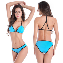 Trendy Women Bikini Set European American Style Summer Sexy Triangle Split Swimwear Vocation Bathing Suits Swimsuits