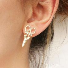 New Womens Girls Punk Scissors Shape Design Ear Studs Earrings Creative Gold Plated Stud Fashion Jewelry