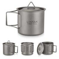 Lixada extérieur ultra-léger titane tasse Pot tasse tasse avec poignée Portable Camping pique-nique eau tasse vaisselle voyage café théière