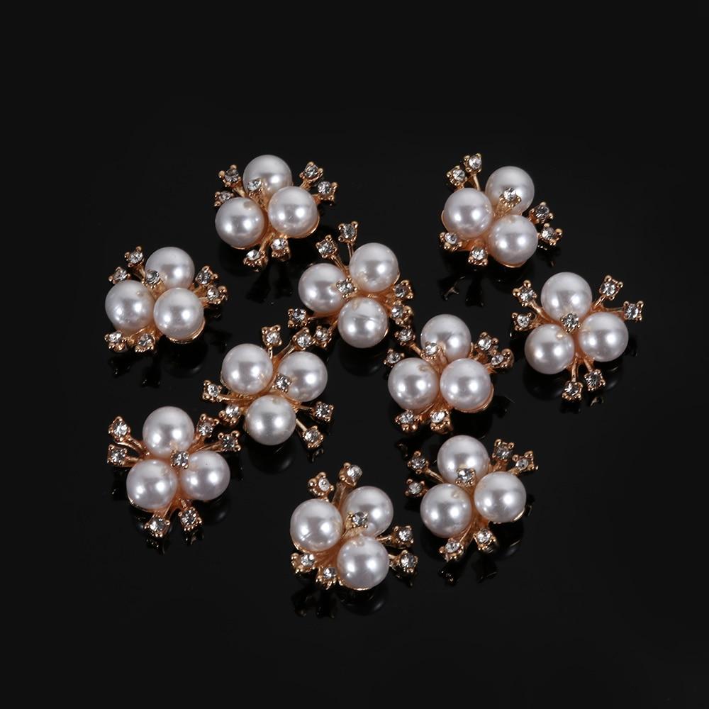 HTB1Bw4TWhnaK1RjSZFBq6AW7VXaH 10pcs/Set DIY Flower Rhinestones Buttons Pearl button Alloy Diamante crystal Bow wedding decoration Sewing Decor Accessories
