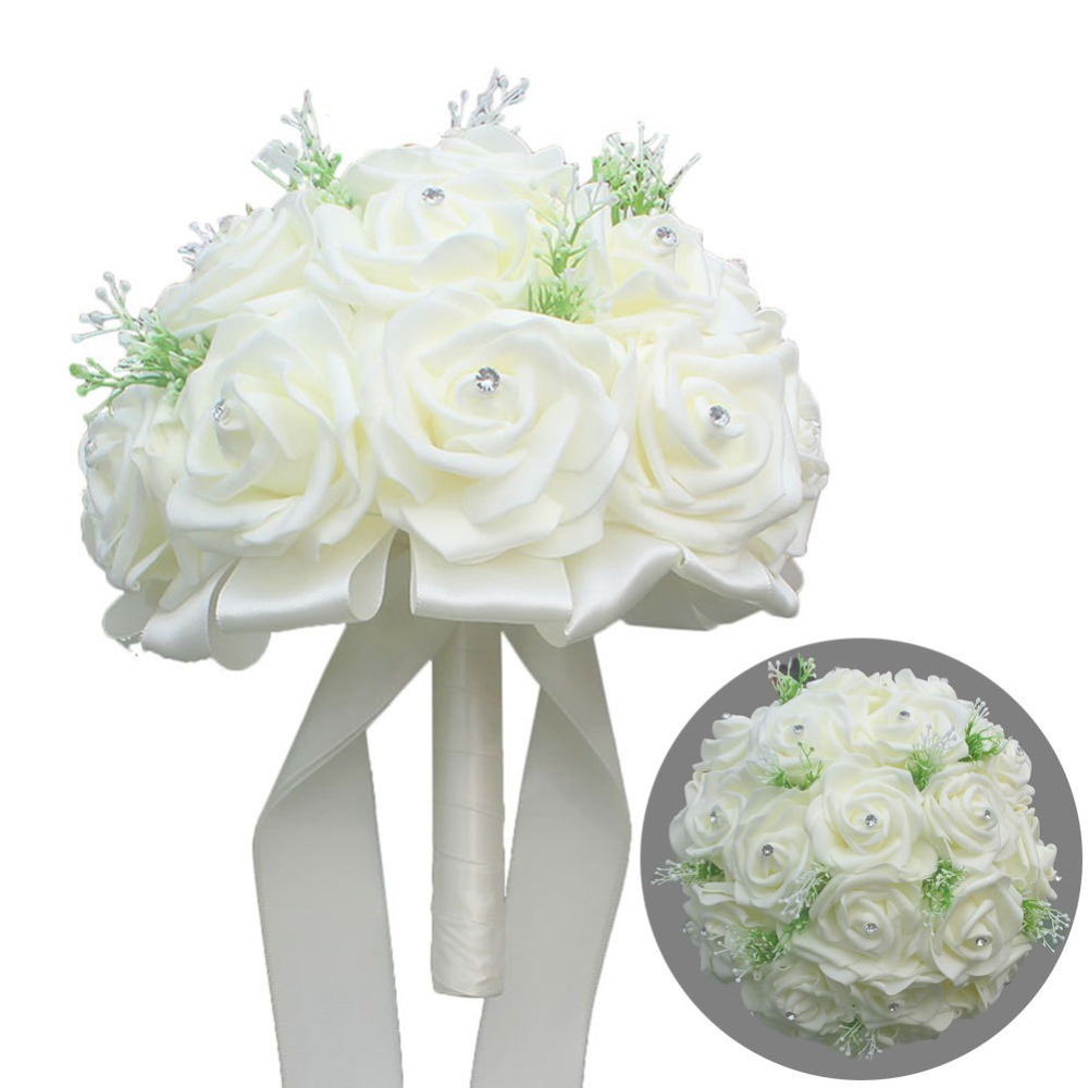 Wedding dress accessories bride holding flowers romantic wedding props wedding supplies simulation rose bouquet