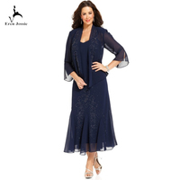 Eren Jossie Latest Fashion 3/4 Sleeves Navy Blue Chiffon Dress Mother Wedding Occasion Beaded Design Tea Length