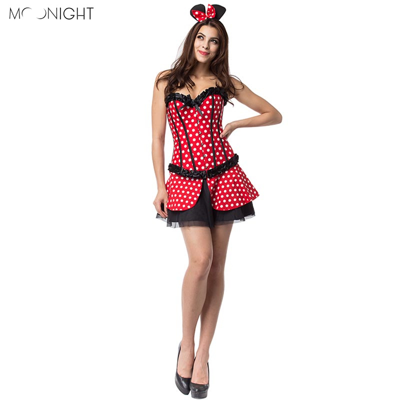 MOONIGHT Holloween Cosplay Women's Sexy Costume Girl Costume Nightclub Cute Uniform Temptation Bustier Corset With Skirt