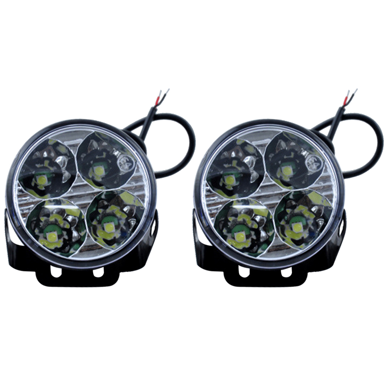 2 Pcs 4 LED Car Auto White Led DRL Daytime Running Lights Led Fog Light Parking Lamp Car Styling 1pcs h1 led good 80w white car fog lights daytime running bulb auto lamp vehicles h1 led high power parking car light source