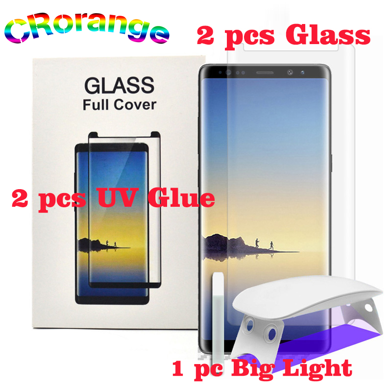2 stücke Volle Kleber UV Flüssigkeit Glas für Galaxy Note 8 S8 S9 Plus S6 S7 Rand UV Licht Flüssigkeit kleber Für Samsung Hinweis 9 Screen Protector