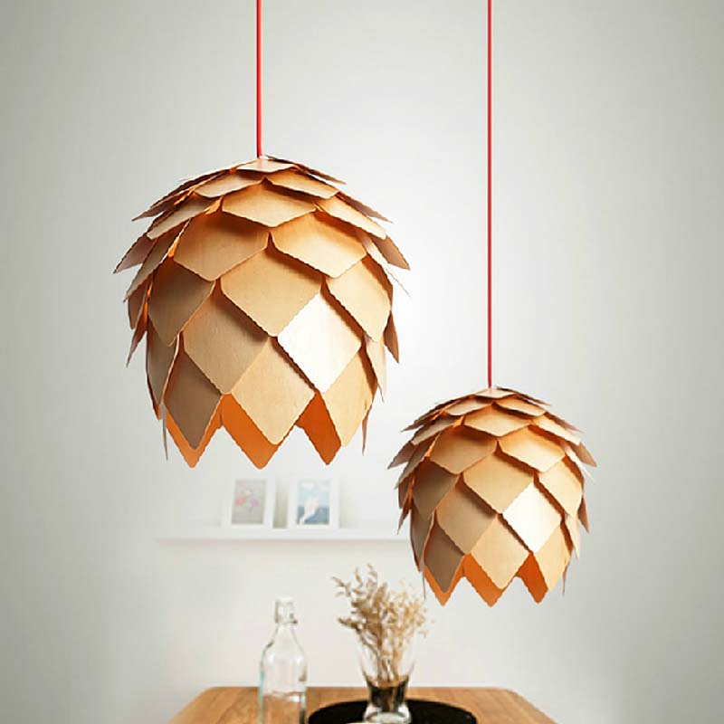 Vintage Pendant Lights Wooden Lamp Shades For Kitchen