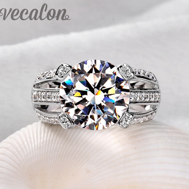 Vecalon 2016 Female Solitaire ring 6ct stone AAAAA Zircon Cz 925 Sterling Silver Engagement wedding Band ring for women