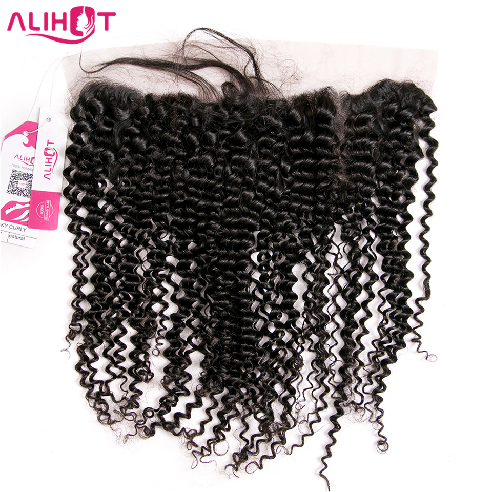 ALI HOT Peruvian Kinky Curly Hair 13*4 Ear To Ear Lace Frontal Closure Pre Plucked Remy Human Hair With Baby Hair Free Shipping
