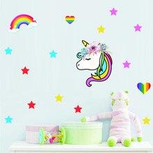 Colorful Unicorn Hearts Stars Rainbow Wall Stickers Kids Girl Home Bedroom Decor Decals Vinyl Art Decoration