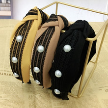 Women Pearls Headband Solid Bow  Hairband for Adult Girls Headwear Lace Boutique Wide Hairband Fashion Hair Hoop Bow stylish beads lace hairband for women