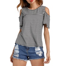 Cold Shoulder T Shirt Women Tops Back Split O-Neck Striped Top Tees Female 2017 Short Sleeve Casual Summer T-Shirts